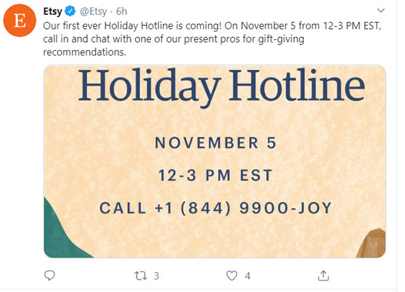 Etsy平台启动假日热线,但是有限制条件