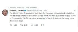 美欧贸易战?特朗普将向欧盟110亿美元的商品征收关税