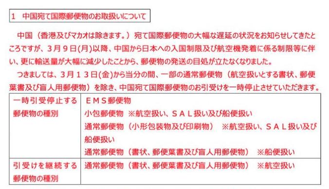 受疫情影响!日本邮局13日起暂停揽收寄往中国内地的国际邮件